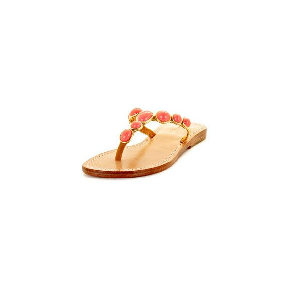 Mystique 228004-GOLD-7 Gold & Coral Thong Sandal ($99) found on Polyvore