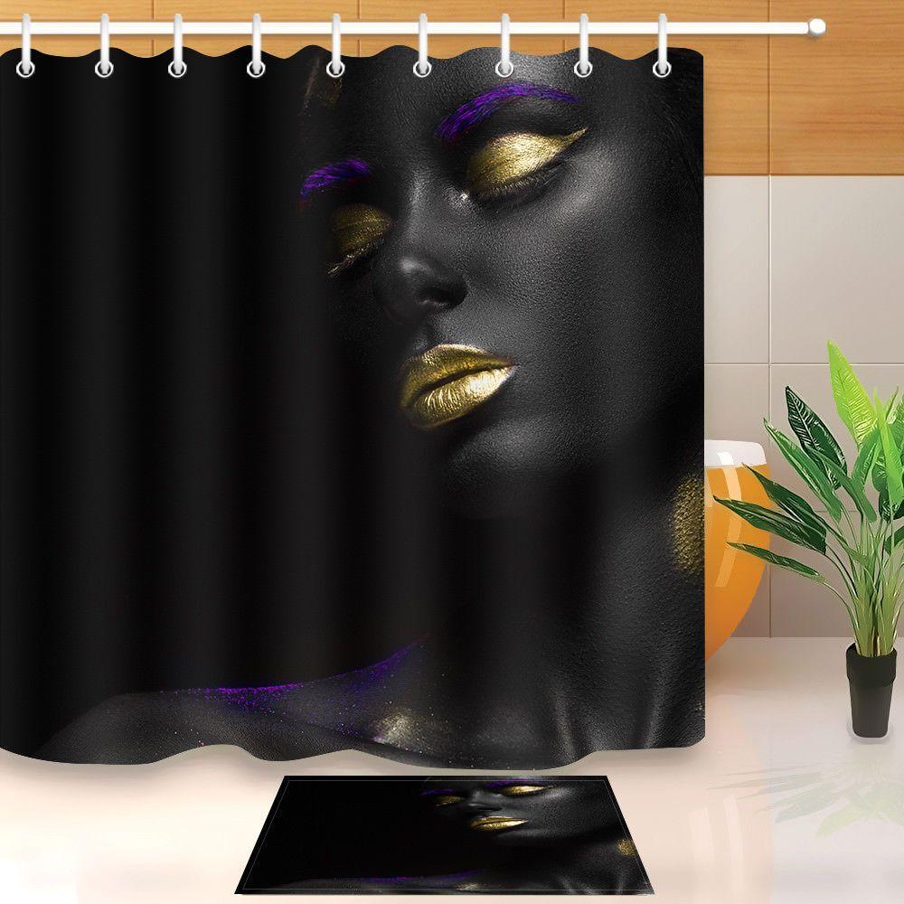 Makeup Gold Lips African Black Girl Shower Curtain Hooks Bathroom