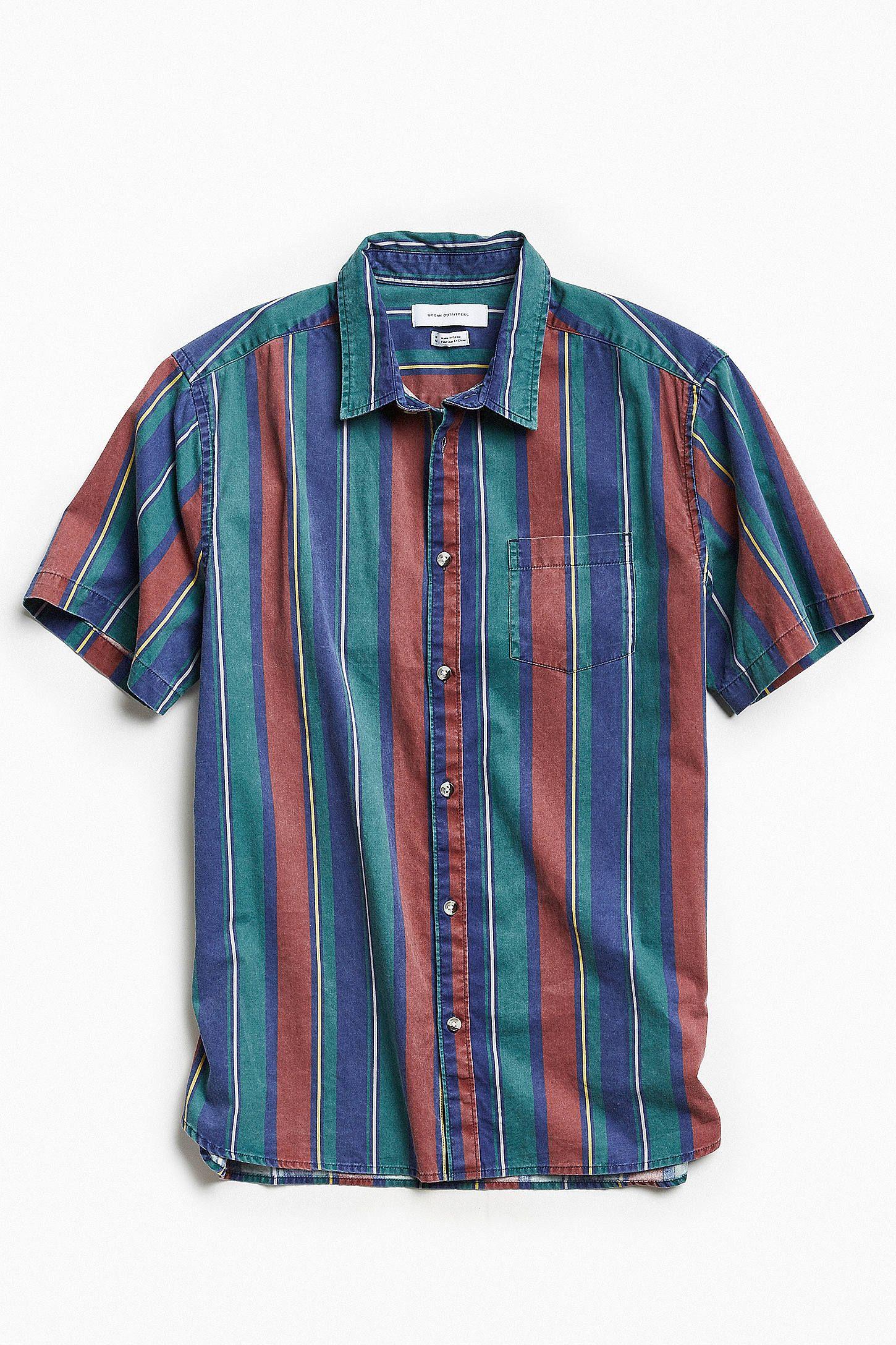 570f7e241e5 Slide View  1  UO  90s Stripe Short Sleeve Button-Down Shirt