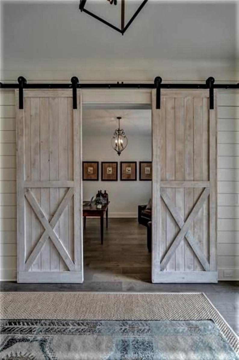 Double Barn Doors Hardware Option 6 6 Ft Sliding Double Barn Door Track Kit Solid Wood Pine T0tal Of In 2020 Custom Barn Doors Double Barn Doors Interior Barn Doors