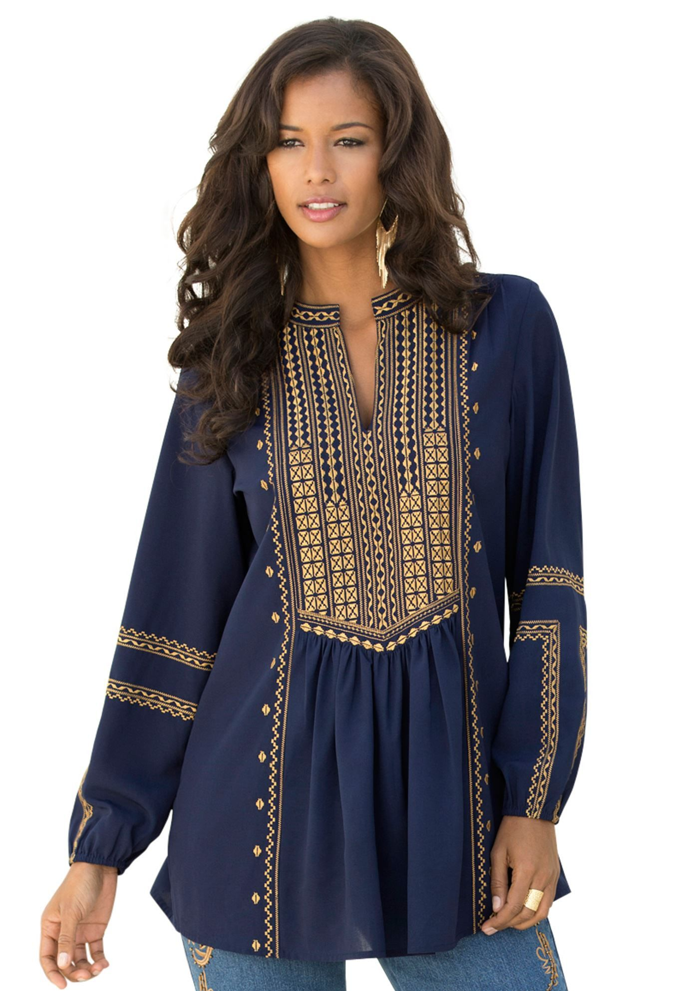 this ultra stylish embroidered boho plus size tunic by denim 24/7