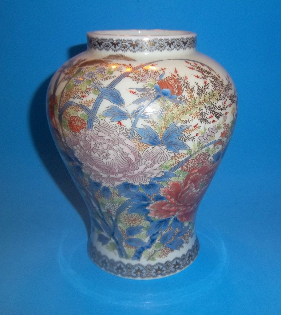 Shibata vase japan porcelain floral gold blue pink cream gilded shibata vase japan porcelain floral gold blue pink cream gilded butterflies signed stamped ginger jar large peonies vintage japanese ceramic reviewsmspy