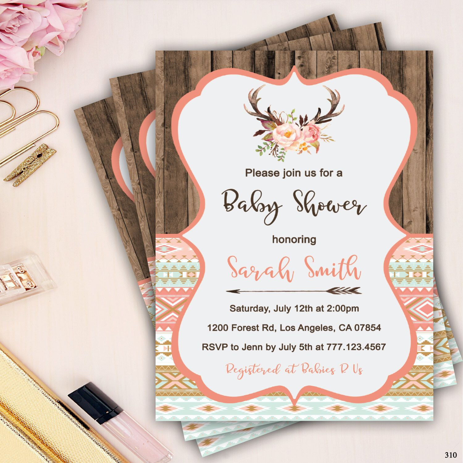 Tribal baby shower invitation rustic boho baby shower invites wood tribal baby shower invitation rustic boho baby shower invites wood invitation coral baby filmwisefo Gallery