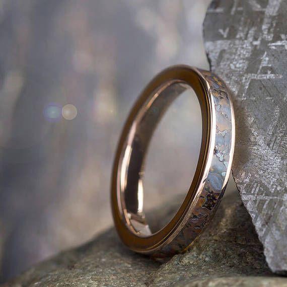 Rose Gold Fossil Ring Dinosaur Bone Wedding Band Fossil
