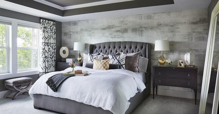 Walk Into A Dark Gray Bedroom To Be Stunned By A Gray Velvet Tufted Headboard Bed Dressed In Various Accent Pillo Bedroom Color Schemes Home Decor Bedroom Home