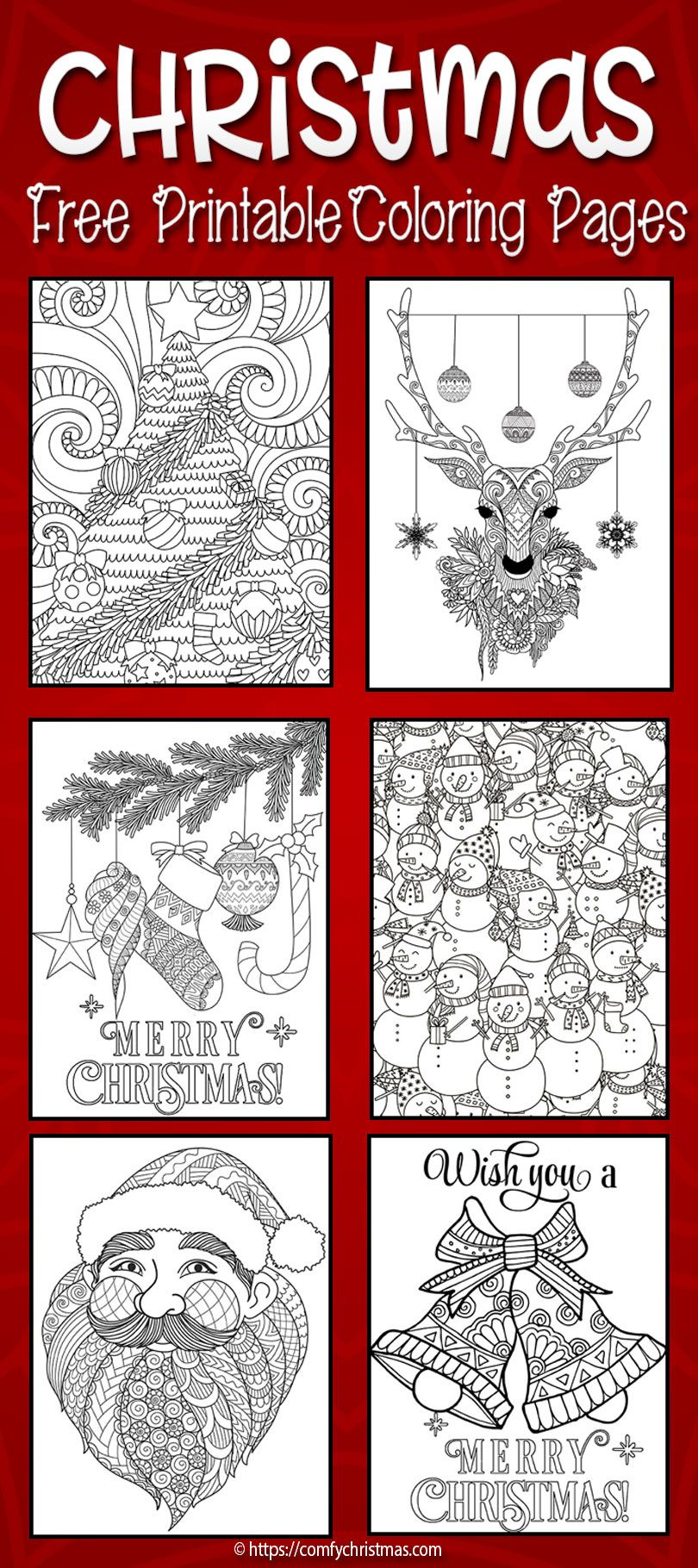 Download Free Printable Christmas Coloring Pages for Adults and Kids ...