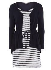 Fever Fish Navy Frill Cardigan Tunic