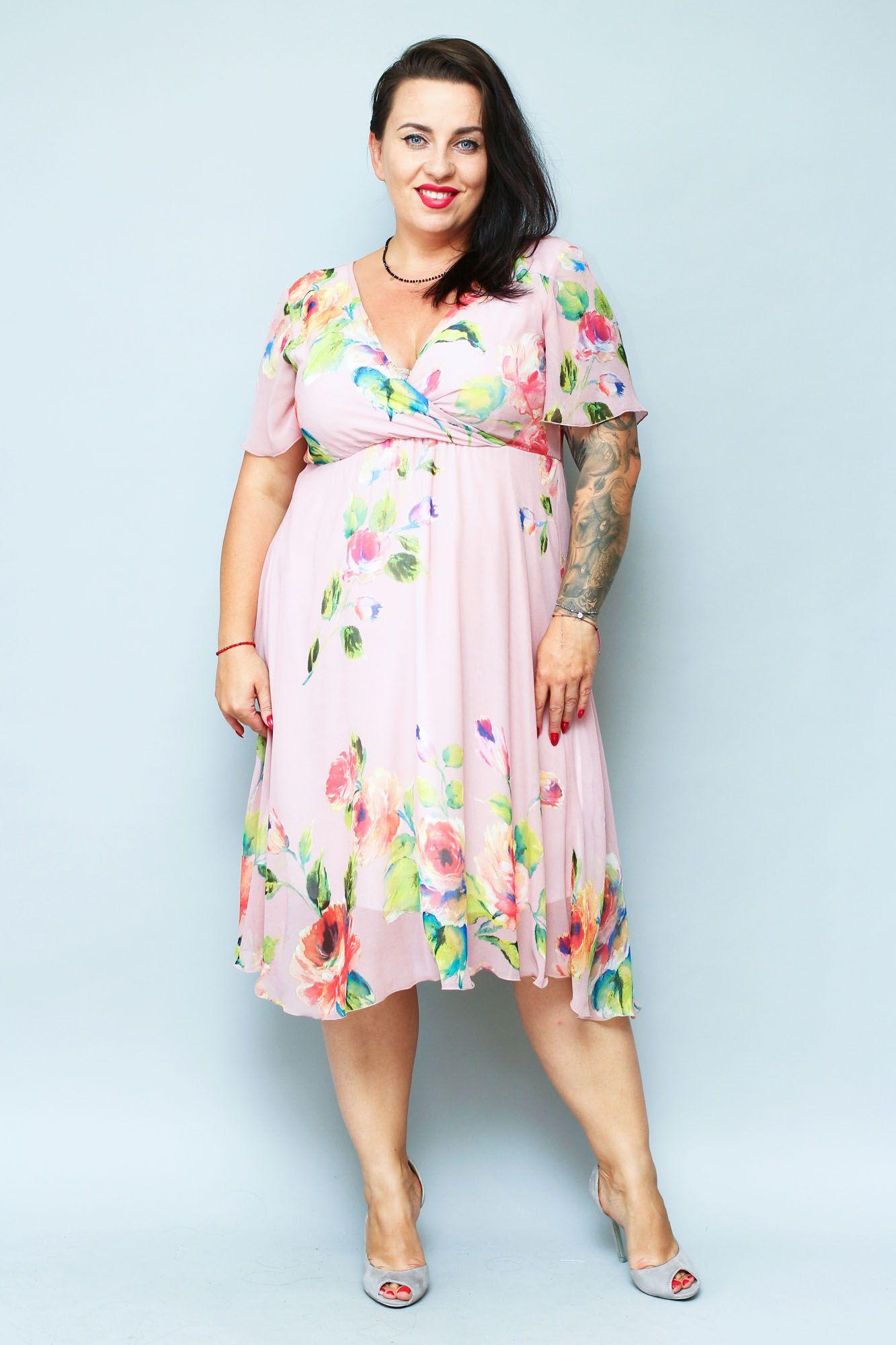 Sukienka Amera Odcinana Dekolt Koperta Szyfon Pudrowy Roz W Kwiaty Sklep Internetowy Plus Size Fashion Dresses Shoulder Dress