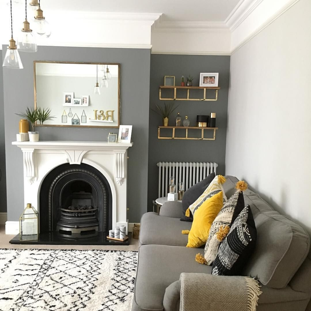 Best Living Room Dark Grey Accent Wall Mustard Living Rooms 400 x 300