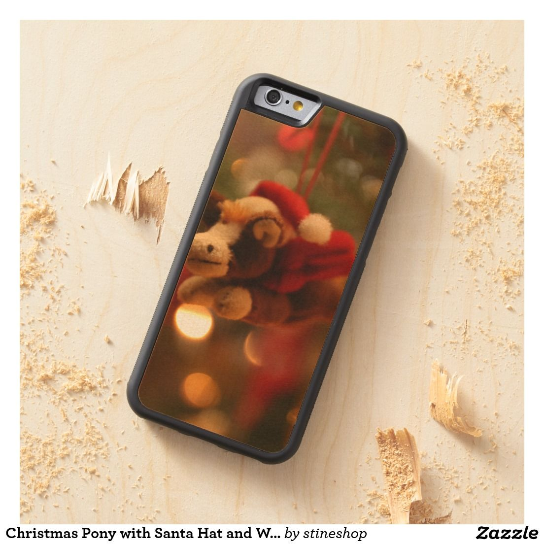 Christmas Pony with Santa Hat and Wings Carved Maple iPhone