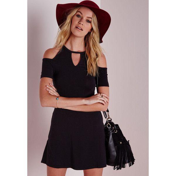 Missguided Keyhole Cold Shoulder Shift Dress Black ($20) ❤ liked on Polyvore