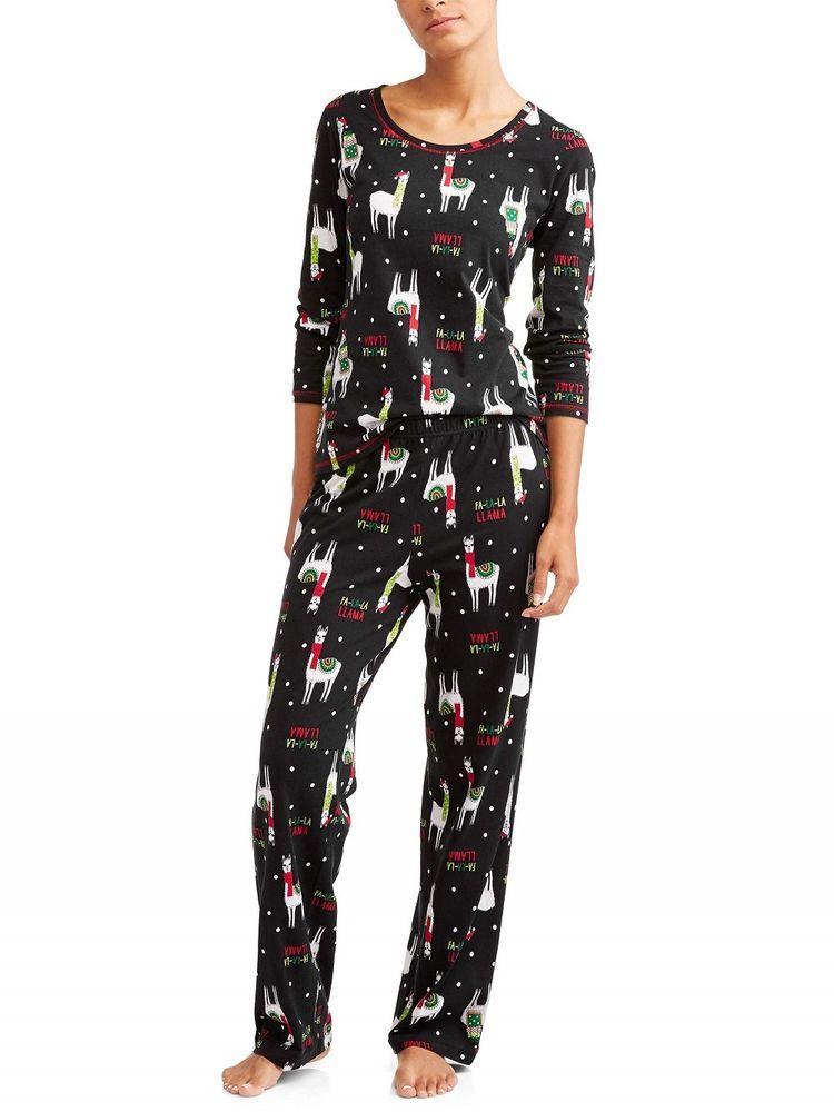 ead429c295 Womens Secret Treasures Fa La La Llama Black Christmas Pajamas 2 Pc Lounge  NEW  SecretTreasures  PajamaSets  Everyday