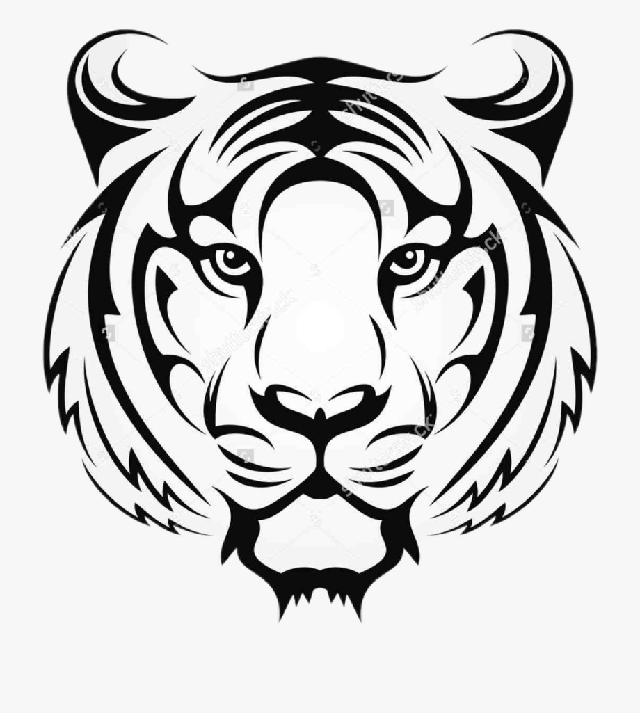 Download Tiger Sticker Tiger Face Drawing To Explore More Related Cliparts Cartoons On Netclipart Tiger Face Drawing Tribal Tiger Animal Stencil