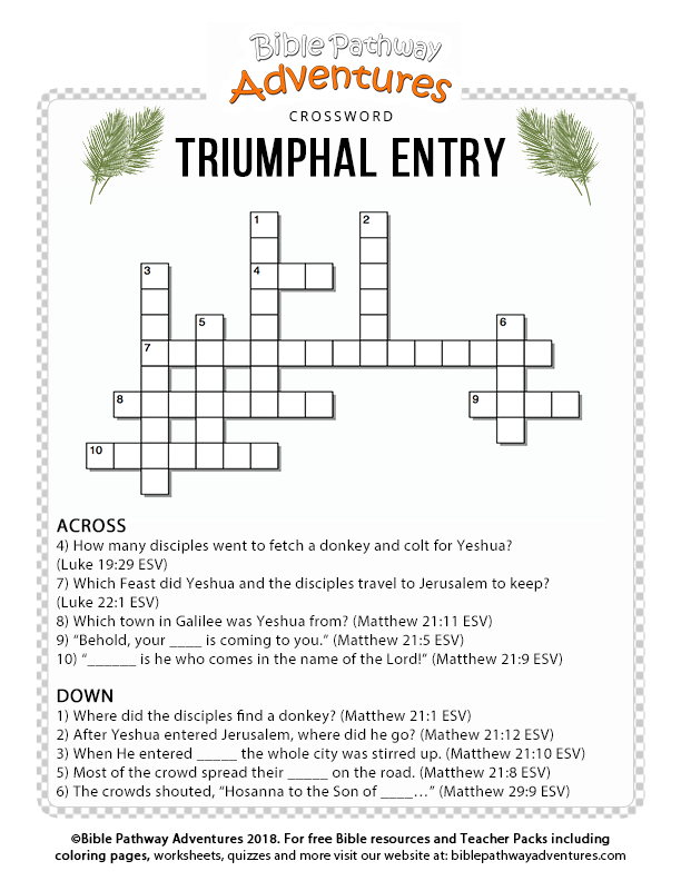 picture relating to Bible Brain Teasers Printable titled Triumphal Accessibility Bible crossword puzzle for small children Printable