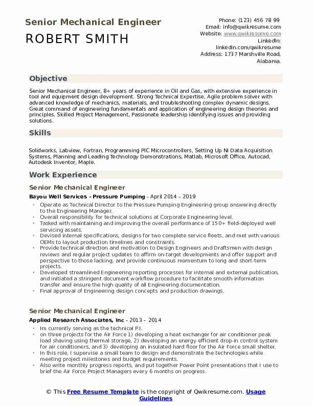 Technical Skills For Mechanical Engineer Resume Lovely Senior Mechanical Engineer Resume Samples In 2020 Resume Examples Engineering Resume Mechanical Engineer Resume