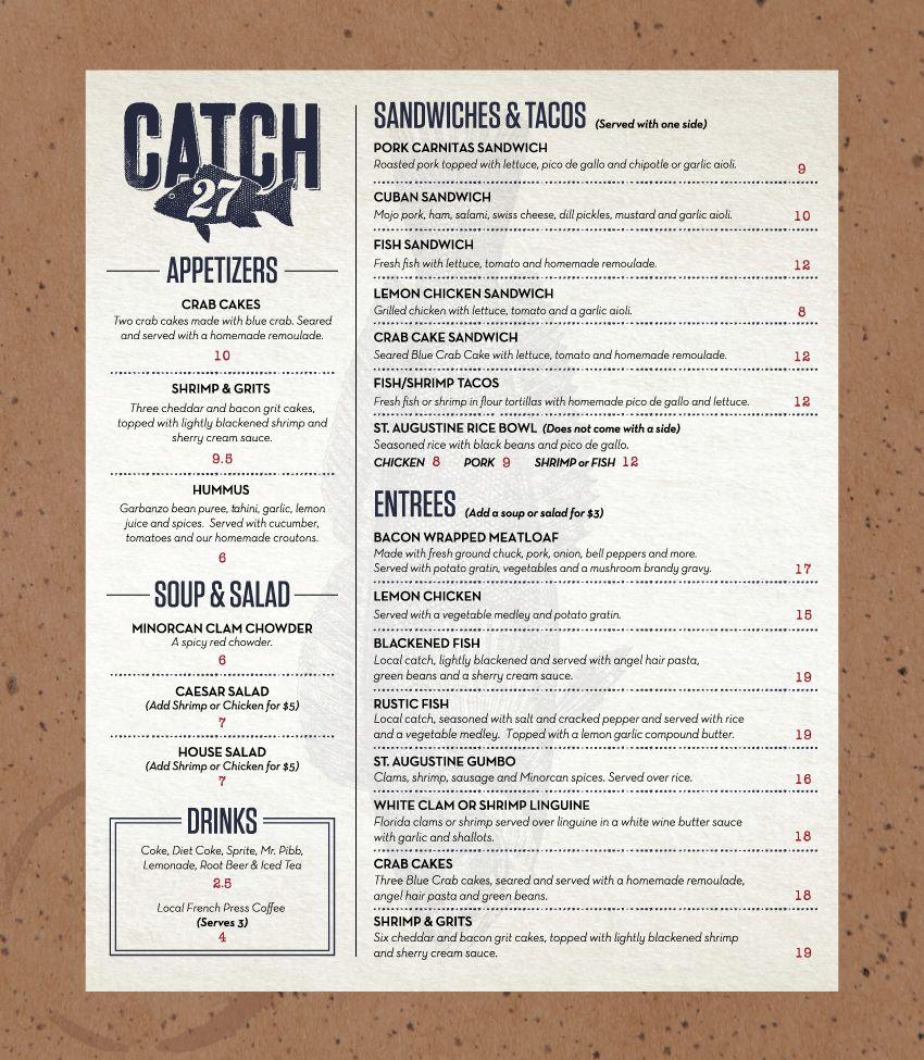 Menus for Saint Augustine, FL Restaurant   CATCH 27   Print Design ...