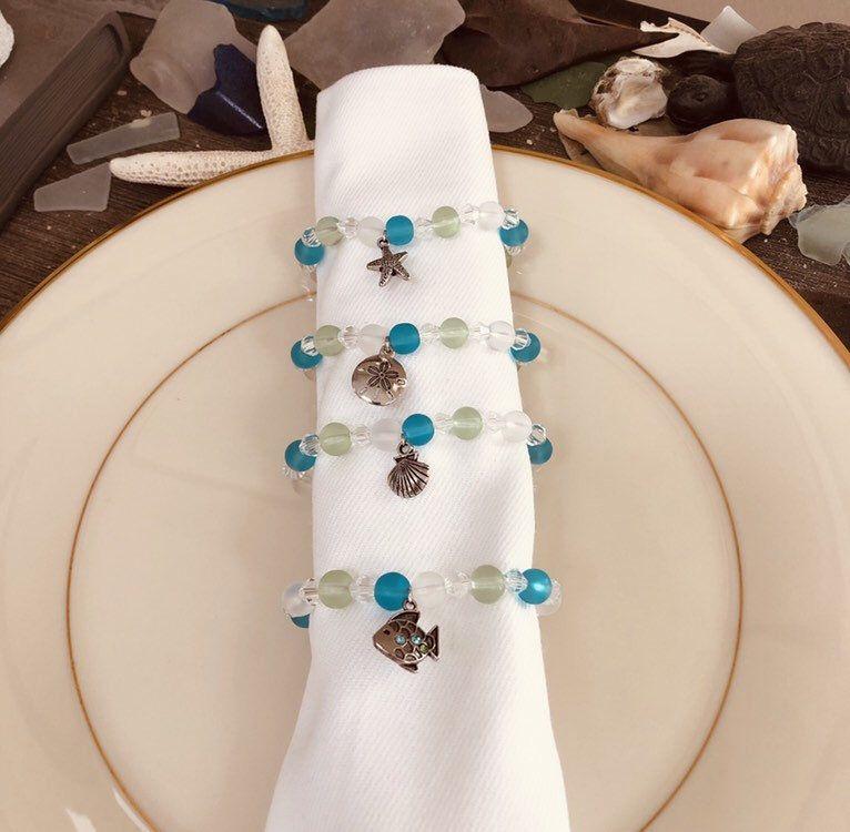 Shell & Turtle, Sea Glass Napkin Rings #napkinrings
