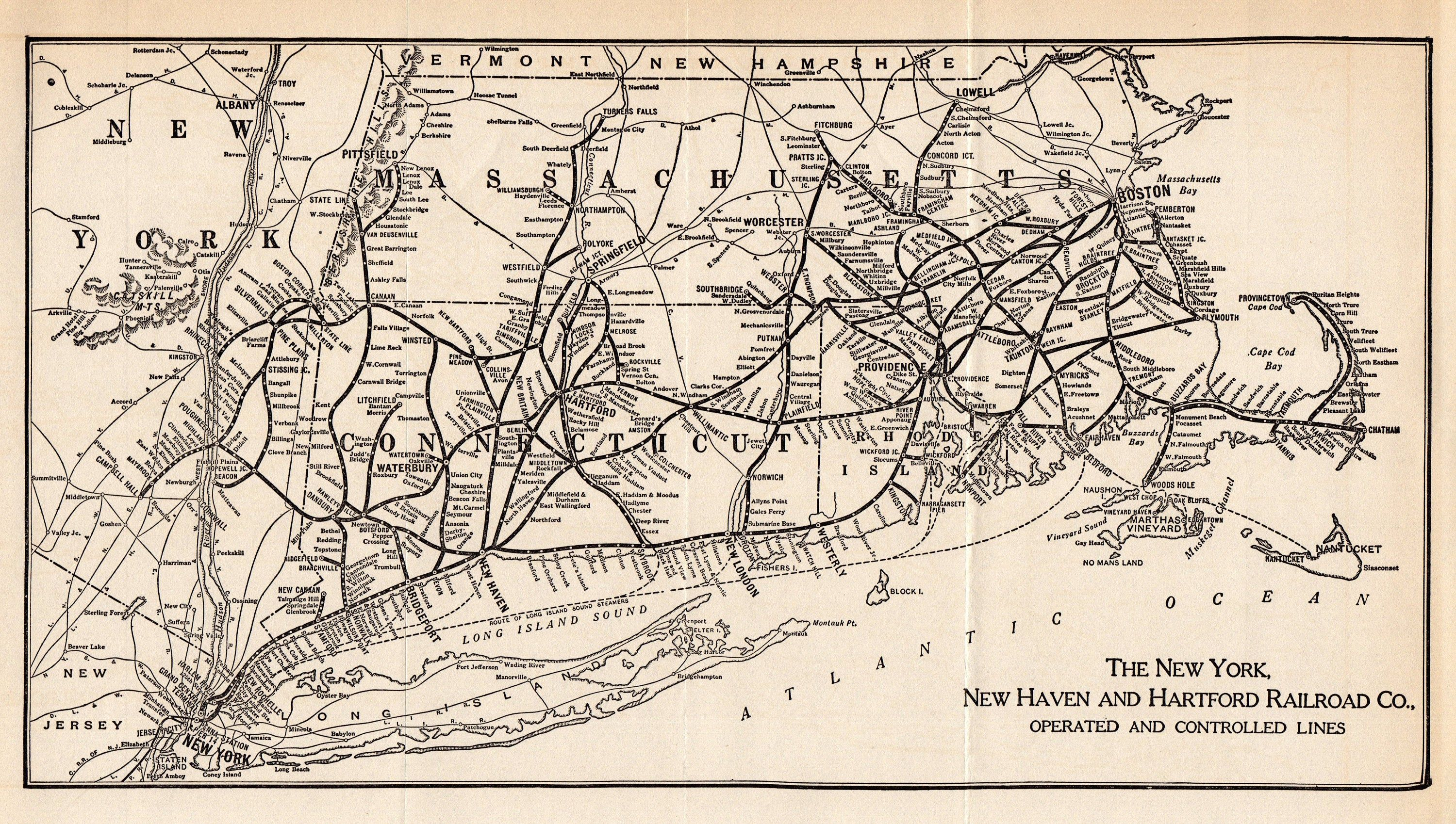 1933 Antique New York New Haven and Hartford Railroad Map