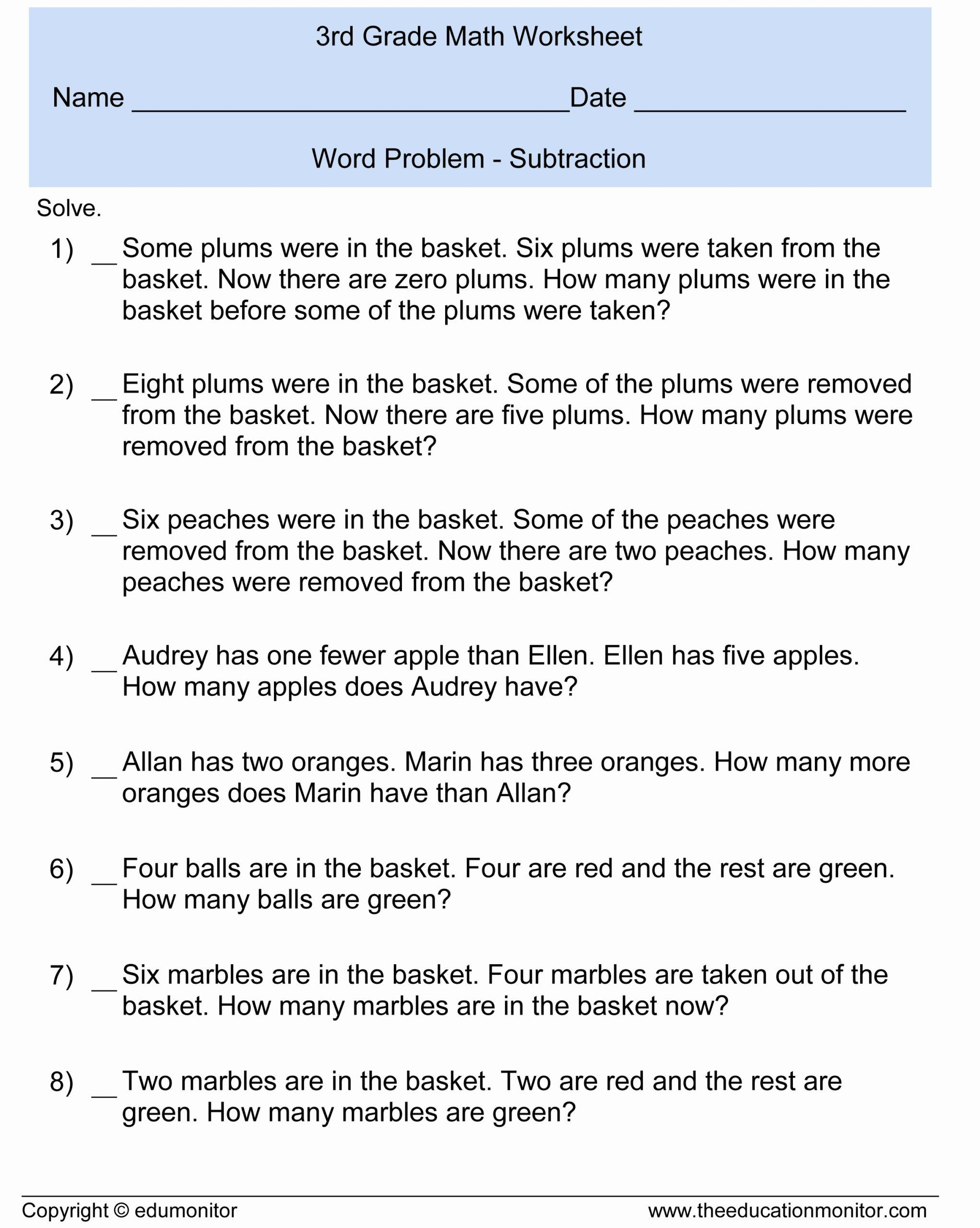 7 4th Grade Math Worksheets Word Problems In
