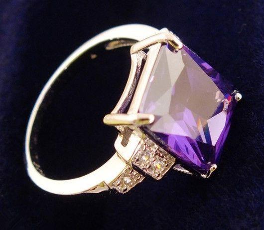 Purple Square Cubic Zirconia Romantic Ring