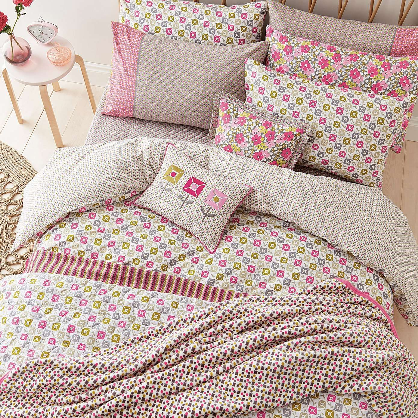 FAYE Embroidery Duvet//Quilt Cover Bedding Set// Curtains// Bed Throws// Cushions