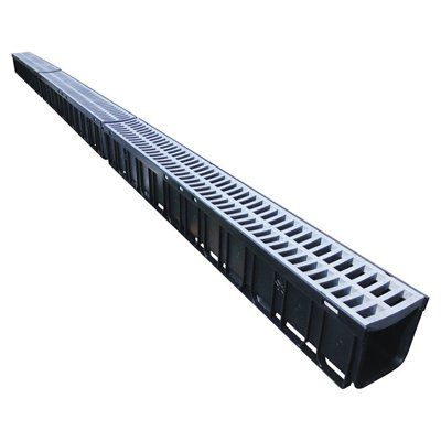 Rain Drain Channel With Portland Grey Plastic Grate With