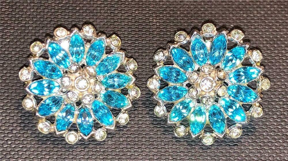 Vintage screw-on earrings golden flowers and aqua rhinestones