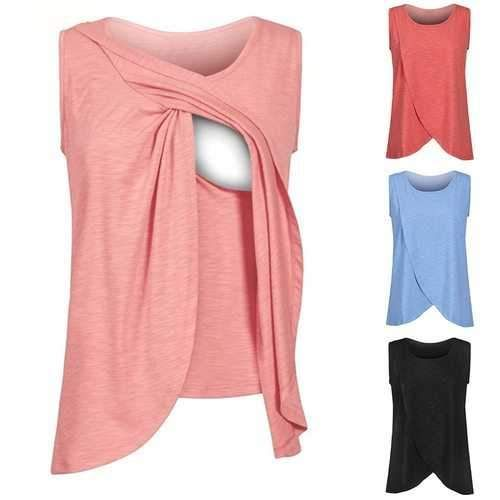 Women Maternity Comfy Solid Nursing Wrap Double Layer Sleeveless Blouse T-Shirt