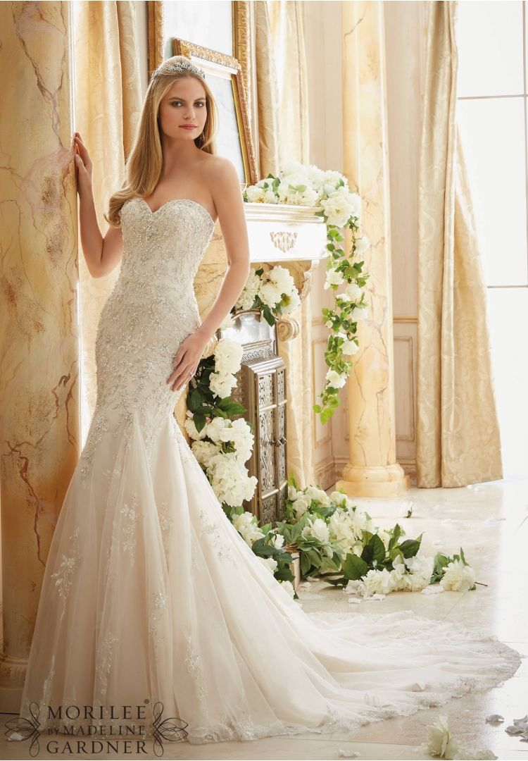 2886 Bridal Gowns / Dresses Crystallized Allover Embroidery on Soft ...