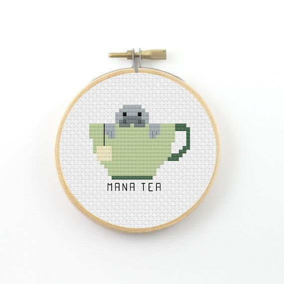 Mana tea Cross Stitch pattern tea pattern tea pun pattern tea cup pattern counted cross stitch tea pdf pattern funny cross stitch