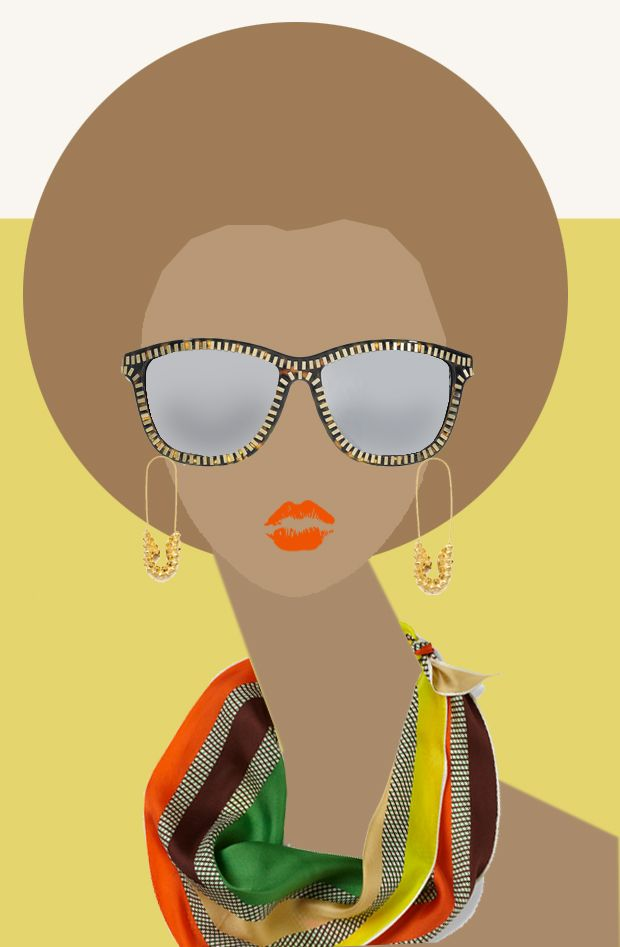 Sunglasses by Alexander Wang  Neck Scarf at @Mod Cloth  Saftey Pin Earrings by Tom Binns  Lipstick Heat Wave by Nars