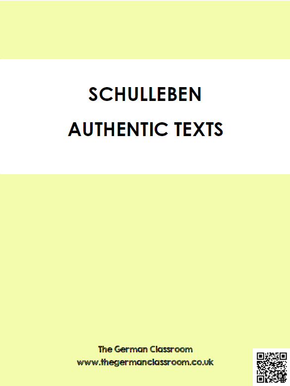Booklet of authentic texts with reading comprehension questions on the topic of school. Good for GCSE German!