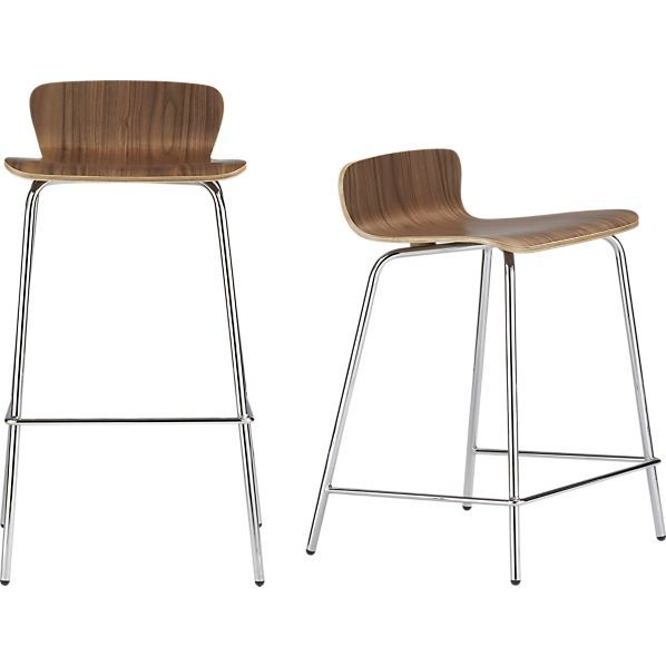 Felix Walnut Barstool / Counter Stool - modern - bar stools and counter stools - Crate  sc 1 st  Pinterest & CUISINE: Options tabourets en bois ou en blanc avec petit dos et ... islam-shia.org