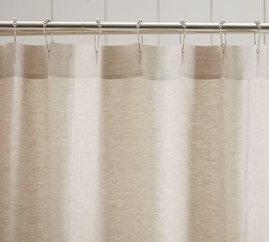 Linen Ruffle Shower Curtain With Images Cloth Shower Curtain