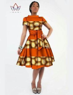 Stylish African Print Dashiki Sashes Dress