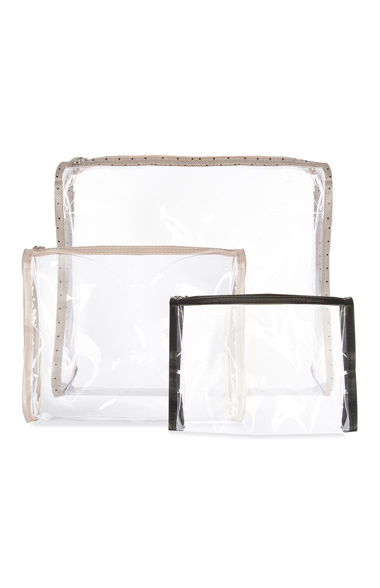 05295c42832 Primark Pack De 3 Neceseres Transpaes Makeup Bag Organization Clear Bags