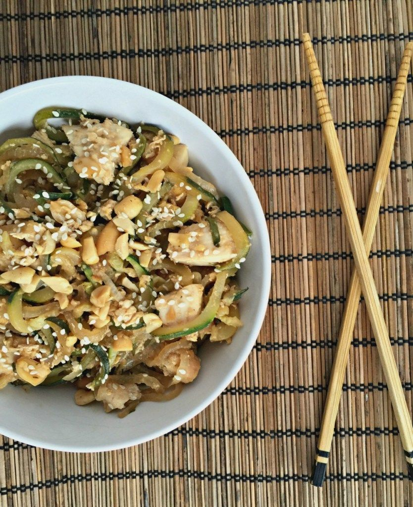 Chicken Pad Thai Zoodles - Chocolate Slopes