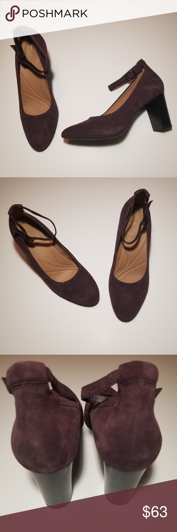 d59a06eed29f2 Clarks Chryssa Jana Ankle Strap Heels Dark purple suede heels with ankle  straps. Heel is approx. 3.25 inches high. New without tags or original box.