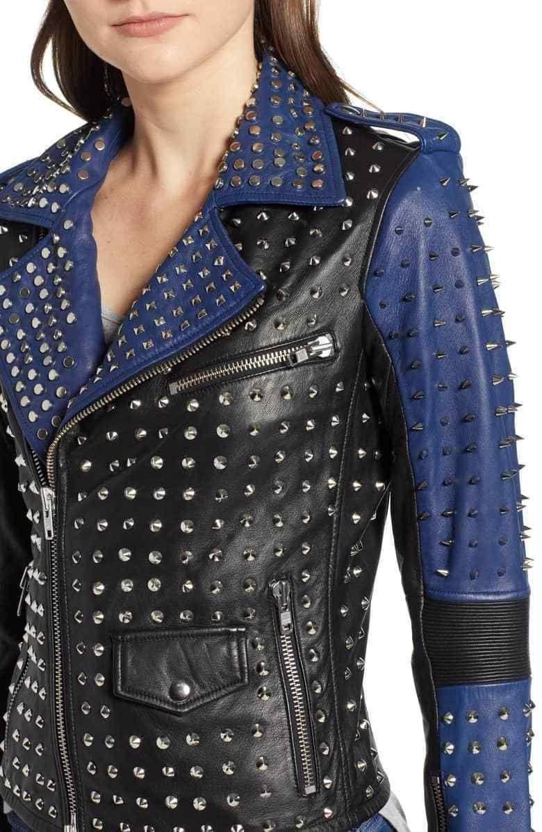 Handmade Sliver Studded Spiked Rock Punk Fashion Jacket Black Blue Leather Jacket For Women Blue Leather Jacket Studded Jacket Leather Jackets Women [ 1196 x 780 Pixel ]