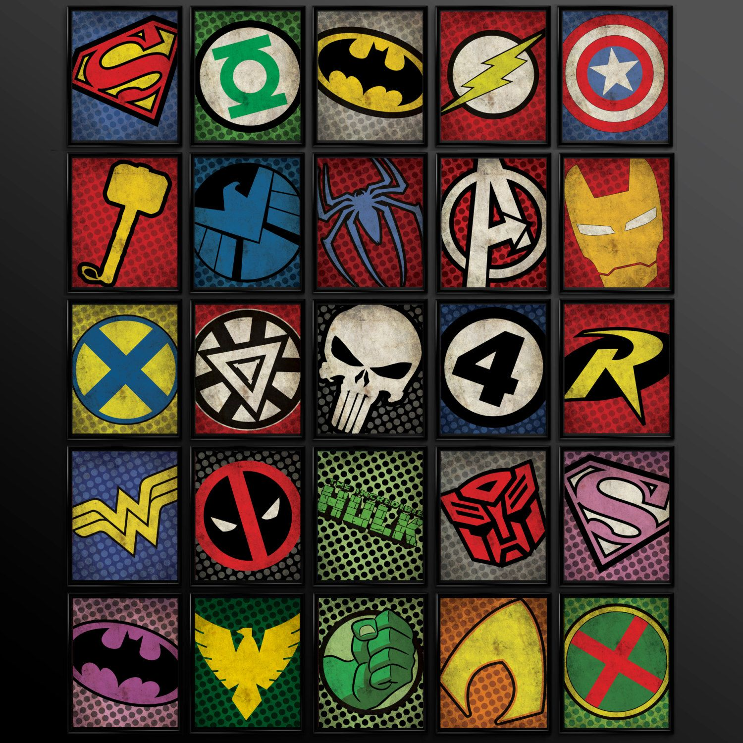 Set of 8 Superhero Kids Wall Art Decor by TheCuttingEdgeShop ...