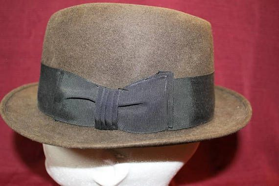 30d75073792a7 Vintage Sears Dark Olive Charcoal Fur Felt Men s Dress Hat