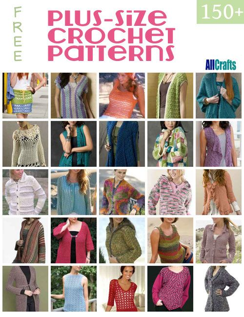 Over 150 Free Plus Size Crocheted Patterns at AllCrafts! | Crochet ...
