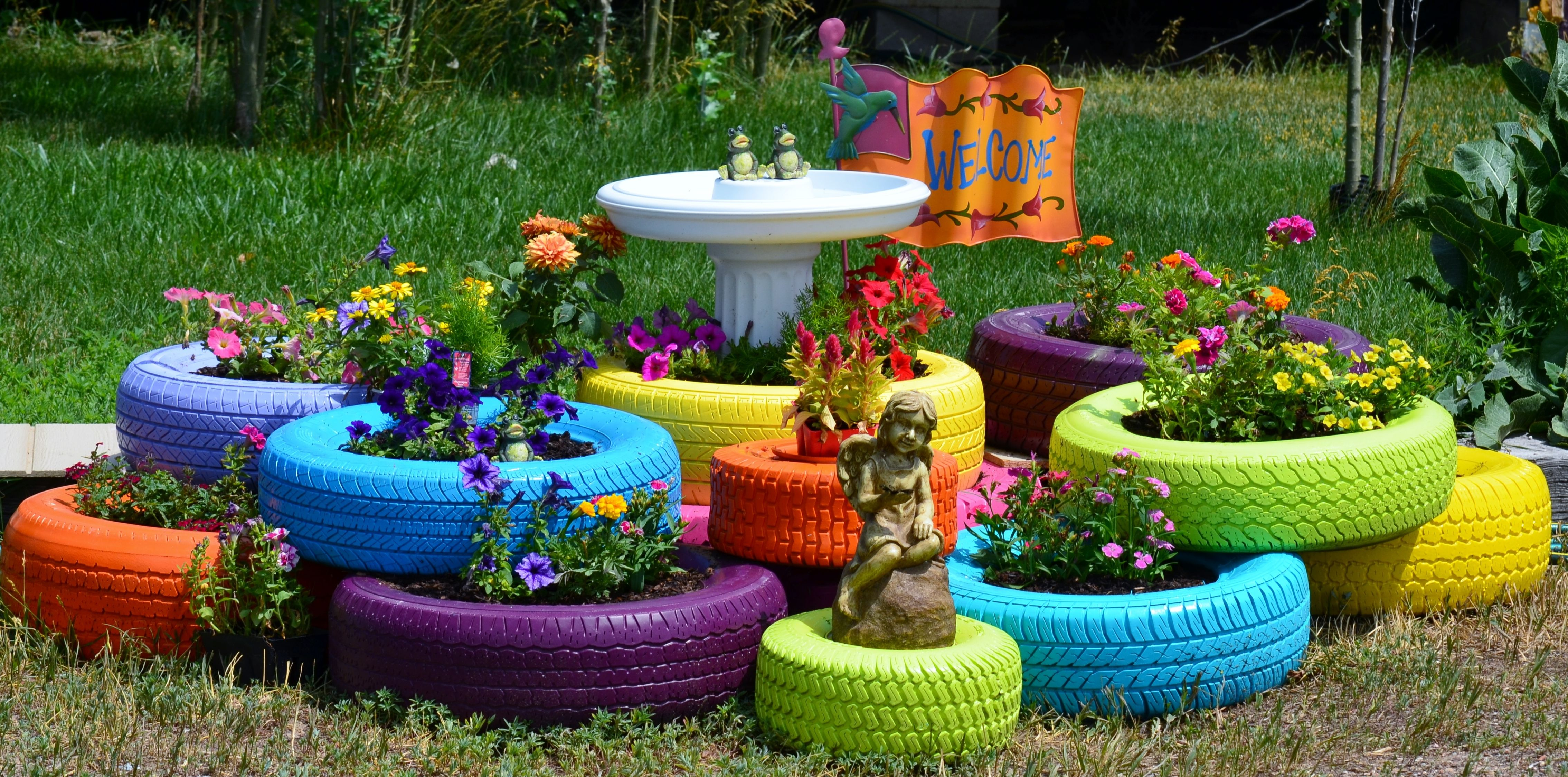 Flowerbed of old tires