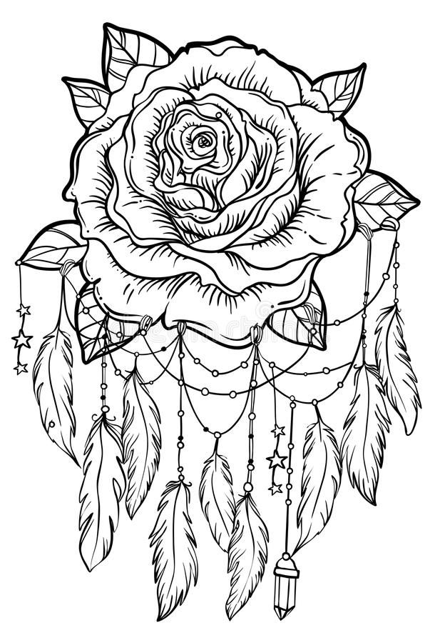 Dream Catcher With Rose Flower, Detailed Vector ...