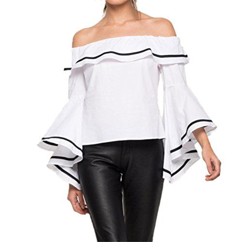da369775efe SIMSHION Women's Summer Off Shoulder Trumpet Sleeve Ruffl... https://www