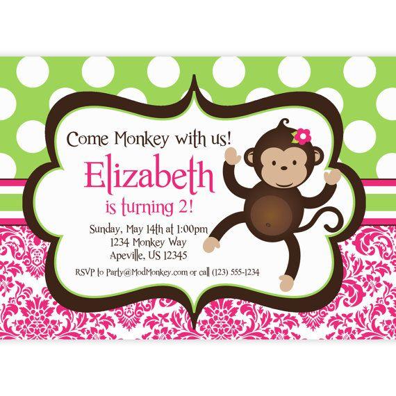 Mod monkey invitation pink damask and green polka dots girl mod mod monkey invitation pink damask and green polka dots girl mod monkey personalized birthday party filmwisefo Choice Image
