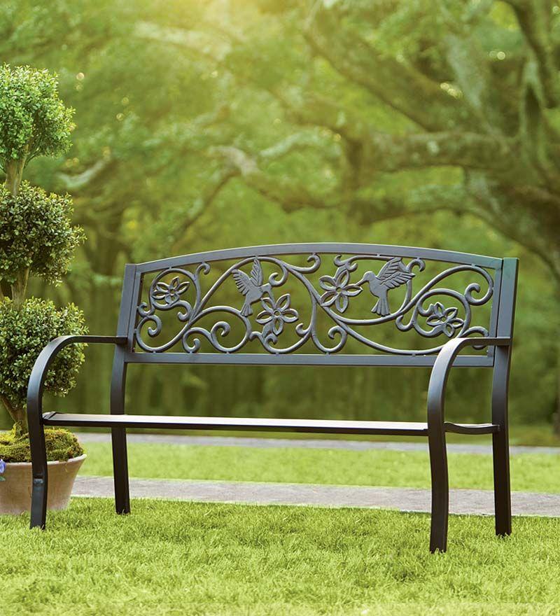 Hummingbird Metal Garden Bench This Decorative Garden Bench Features A Charming Back Design With Hummi Metal Garden Benches Garden Bench Outdoor Garden Bench