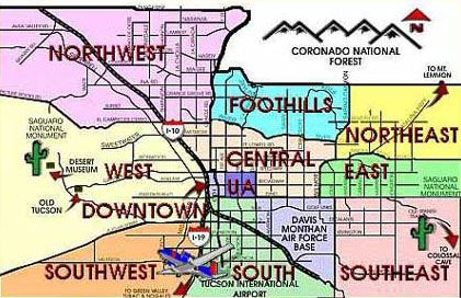Map Of Tucson Az And Surrounding Areas | Homes by Area of Tucson ...