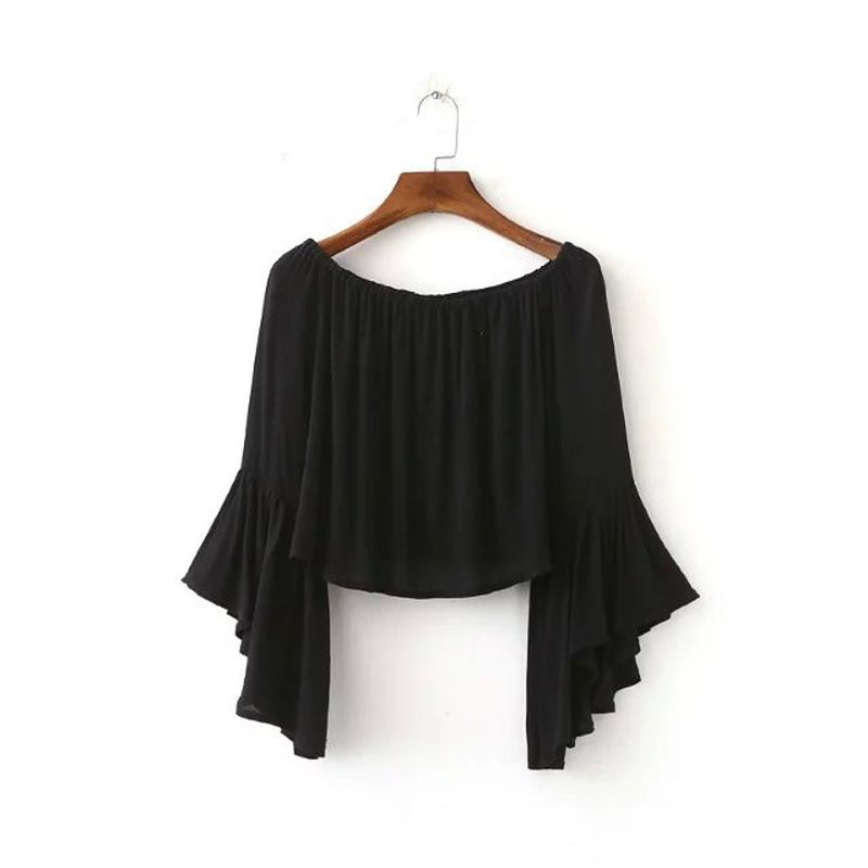 Foreign trade the word collar solid color fold big horn sleeve T-shirt summer