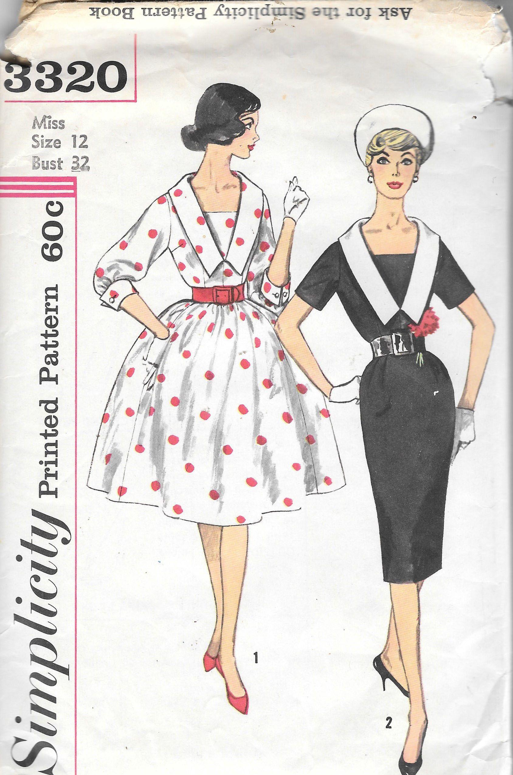"Vintage 1950/'s Sewing Pattern Wiggle Slim /& Full Skirted Dress Bust 32/"""